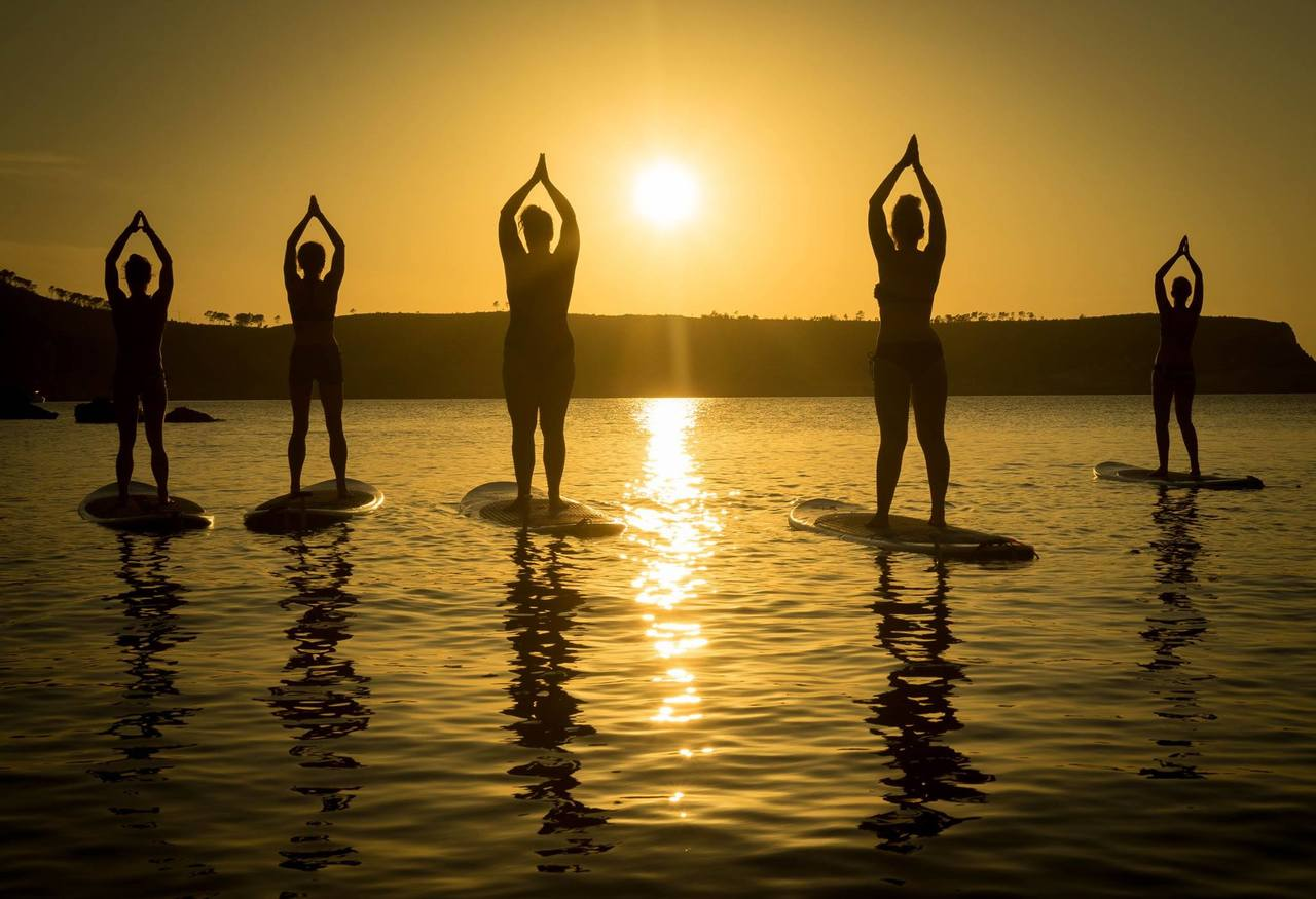 Yoga on paddle boards at Coolum
